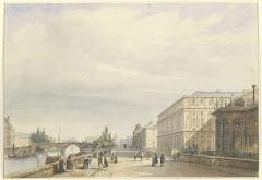 Ancien hôtel de Salm, actuel Palais de la Légion d'Honneur - Français:   Le quai d\'Orsay devant l\'hôtel de Salm et la Cour des Comptes en 1839