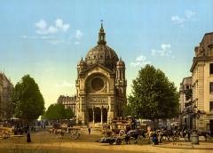 Eglise Saint-Augustin -  St. Augustine Church, Paris, France (Église Saint-Augustin de Paris). 1 photomechanical print: photochrom, color.
