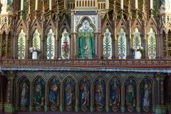 Eglise Saint-Eugène-Sainte-Cécile - Deutsch: Katholische Pfarrkirche St-Eugène-Ste-Cécile im 9. Arrondissement von Paris, Altar mit Heiligenfiguren