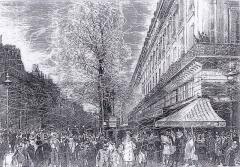 Grand Hôtel - Les serpentins au Carnaval de Paris. Sur le boulevard des Capucines (le café de la Paix est sur la droite).