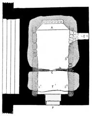 Chapelle des Sept-Saints - English: Plan of the seven saints dolmen