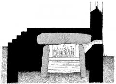 Chapelle des Sept-Saints - English: Transversal section of the seven saints dolmen