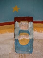 Eglise Sainte-Nonne et Saint-Divy - Ange en cul de lampe du lambris du porche des apôtres de l'église Sainte-Nonne de Dirinon (29).