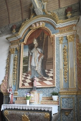Eglise Saint-Edern - Deutsch: Katholische Kirche Saint-Edern in Lannédern im Département Finistère (Region Bretagne/Frankreich), Seitenaltar aus dem 17. Jahrhundert; Altarbild mit der Darstellung des heiligen Philibert als Bischof.