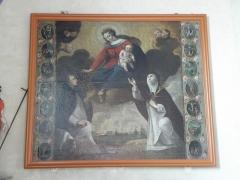 Eglise Saint-Etienne - Français:   Plouezoch, fonts baptismaux, tableau du Rosaire avec la bataille de Lépante, signé et daté, 17e siècle