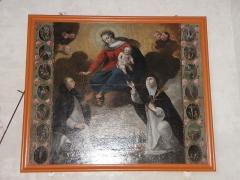 Eglise Saint-Etienne - Français:   Intérieur de l\'église Saint-Étienne de Plouezoc\'h (29). Tableau de la donation du Rosaire.