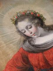 Eglise Saint-Etienne - Français:   Intérieur de l\'église Saint-Étienne de Plouezoc\'h (29). Tableau de la donation du Rosaire. Détail. La Vierge.