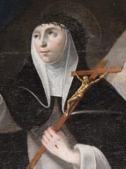 Eglise Saint-Etienne - Français:   Intérieur de l\'église Saint-Étienne de Plouezoc\'h (29). Tableau de la donation du Rosaire. Détail. Sainte-Catherine-de-Sienne.