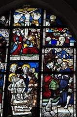 Eglise Saint-Nicaise et cimetière - Deutsch: Katholische Kirche Saint-Nicaise in Saint-Nic im Département Finistère (Region Bretagne/Frankreich), Bleiglasfenster (baie 1) aus dem späten 16. Jahrhundert und um 1600; Darstellung: Szenen der Passion Christi