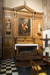 Basilique Saint-Sauveur - Français:   Tableau de Toussaint Jourjon (1843). Statues de Charles Goupil (1871): à gauche, saint Louis, à droite, sainte Germaine Cousin. Retable agrandi par Mélin (1871).