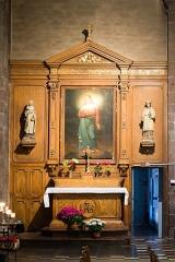 Basilique Saint-Sauveur - Français:   Tableau d\'André Briand (1843). Statues de Charles Goupil (1871): à gauche, Françoise d\'Amboise épouse de Charles de Blois, à droite, saint Yves. Retable agrandi par Mélin (1871).