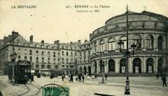 Théâtre et immeubles dits Galeries du Théâtre - English: Tramway Electrique de Rennes