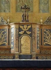 Ancienne église Saint-Lunaire - Français:   Tabernacle et croix du maître-autel de la vieille église de Saint-Lunaire (35).