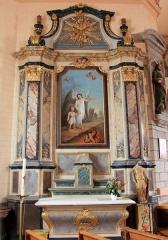 Eglise Saint-Cyr - Français:   Église Saint-Cyr (Moréac): retable de l\'ange, avec un ange gardien conduisant un enfant et repoussant un démon