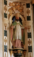 Eglise Saint-Cyr - Français:   Église Saint-Cyr (Moréac): Statue de Saint-Paterne du retable central.