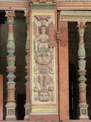 Chapelle Saint-Nicolas - Français:   Élévation est du jubé de la chapelle Saint-Nicolas de Priziac (56). 2d terme.