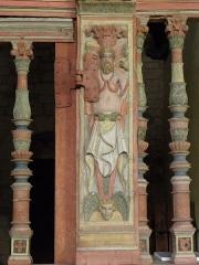 Chapelle Saint-Nicolas - Français:   Élévation est du jubé de la chapelle Saint-Nicolas de Priziac (56). 3ème terme.