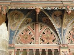 Chapelle Saint-Nicolas - Français:   Élévation est du jubé de la chapelle Saint-Nicolas de Priziac (56). Partie supérieure du chancel. Section gauche.
