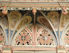 Chapelle Saint-Nicolas - Français:   Élévation est du jubé de la chapelle Saint-Nicolas de Priziac (56). Partie supérieure du chancel. Section médiane.