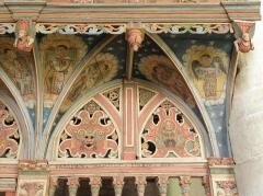 Chapelle Saint-Nicolas - Français:   Élévation est du jubé de la chapelle Saint-Nicolas de Priziac (56). Partie supérieure du chancel. Section droite.