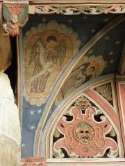Chapelle Saint-Nicolas - Français:   Élévation est du jubé de la chapelle Saint-Nicolas de Priziac (56). Partie supérieure du chancel. Section gauche. Détail.