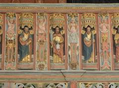 Chapelle Saint-Nicolas - Français:   Élévation est du jubé de la chapelle Saint-Nicolas de Priziac (56). Tribune. Apôtres. Saint-Matthieu, Saint-Barthélemy et Saint-Matthias.