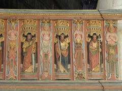 Chapelle Saint-Nicolas - Français:   Élévation est du jubé de la chapelle Saint-Nicolas de Priziac (56). Tribune. Apôtres. Saint-Simon, Saint-Jacques-le-Mineur et Saint-Jude.