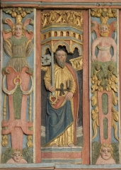 Chapelle Saint-Nicolas - Français:   Élévation est du jubé de la chapelle Saint-Nicolas de Priziac (56). Tribune. Saint-Pierre.