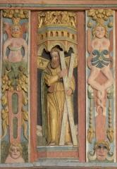 Chapelle Saint-Nicolas - Français:   Élévation est du jubé de la chapelle Saint-Nicolas de Priziac (56). Tribune. Saint-André.