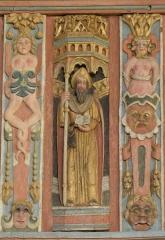 Chapelle Saint-Nicolas - Français:   Élévation est du jubé de la chapelle Saint-Nicolas de Priziac (56). Tribune. Saint-Jacques-le-Majeur.