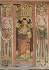 Chapelle Saint-Nicolas - Français:   Élévation est du jubé de la chapelle Saint-Nicolas de Priziac (56). Apôtre. Saint-Jean.