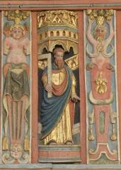 Chapelle Saint-Nicolas - Français:   Élévation est du jubé de la chapelle Saint-Nicolas de Priziac (56). Apôtre. Saint-Thomas.