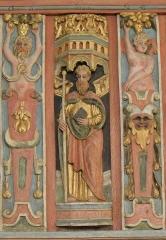 Chapelle Saint-Nicolas - Français:   Élévation est du jubé de la chapelle Saint-Nicolas de Priziac (56). Apôtre. Saint-Philippe.