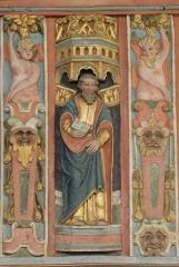 Chapelle Saint-Nicolas - Français:   Élévation est du jubé de la chapelle Saint-Nicolas de Priziac (56). Apôtre. Saint-Matthieu.
