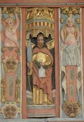 Chapelle Saint-Nicolas - Français:   Élévation est du jubé de la chapelle Saint-Nicolas de Priziac (56). Apôtre. Saint-Barthélemy.