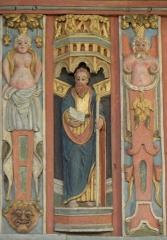 Chapelle Saint-Nicolas - Français:   Élévation est du jubé de la chapelle Saint-Nicolas de Priziac (56). Apôtre. Saint-Matthias.