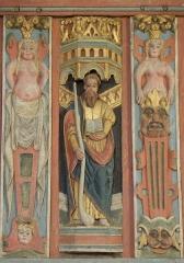 Chapelle Saint-Nicolas - Français:   Élévation est du jubé de la chapelle Saint-Nicolas de Priziac (56). Apôtre. Saint-Jacques-le-Mineur.