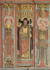 Chapelle Saint-Nicolas - Français:   Élévation est du jubé de la chapelle Saint-Nicolas de Priziac (56). Apôtre. Saint-Jude.