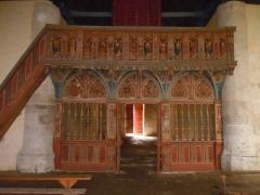 Chapelle Saint-Nicolas - Français:   vue de l\'élévation côté est du jubé de la chapelle Saint-Nicolas de Priziac, département du Morbihan, France