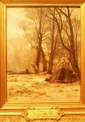 Ancienne cohue - Français:   Léon Le Goaebe de Bellée (1846-1891): En forêt, le givre (le tableau représente aussi une hutte de charbonnier) (huile sur bois, 1879, Musée des beaux-arts de Vannes)