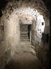 Eglise abbatiale Saint-Pierre - Français:   Escalier nord (bouché) de la crypte de l\'abbatiale Saint-Pierre de Mozac. Époque carolingienne. Comblée après les tremblements de terre de la moitié du XVe siècle qui ont conduit à l\'écroulement du clocher et du chevet supérieur. Redécouverte et restaurée en 1849 par l\'architecte diocésain Aymon Mallay.