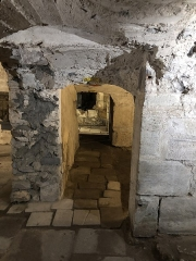 Eglise abbatiale Saint-Pierre - Français:   Vue latérale de la salle centrale et du martyrium de la crypte de l\'abbatiale Saint-Pierre de Mozac. Ici: mur de refend construit en 1616 délimitant un caveau moderne des moines qui ont réutilisé les deux premières chapelles du martyrium. Époque carolingienne. Comblée après les tremblements de terre de la moitié du XVe siècle qui ont conduit à l\'écroulement du clocher et du chevet supérieur. Redécouverte et restaurée en 1849 par l\'architecte diocésain Aymon Mallay.