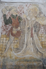 Eglise Sainte-Agathe - Deutsch:   Katholische Pfarrkirche Sainte-Croix, auch Sainte-Agathe, in Ris im Département Puy-de-Dôme (Auvergne-Rhône-Alpes), Wandmalerei, heiliger Stephanus