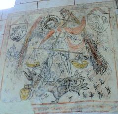 Eglise Sainte-Agathe - Français:   Ris - Eglise prieurale - Peinture murale de saint Michel