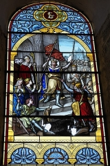 Eglise Sainte-Agathe - Deutsch:   Katholische Pfarrkirche Sainte-Croix, auch Sainte-Agathe, in Ris im Département Puy-de-Dôme (Auvergne-Rhône-Alpes), Bleiglasfenster mit der Signatur: A. BARATTE PEINTRE-VERRIER CLERMONT Fd; Darstellung: Ludwig der Heilige