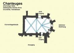 Prieuré - Deutsch: Chanteuges.ehem.Abtei.Abtkapelle, Grundriss, Handskizze