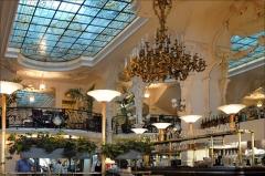 Grand Café -  Le Grand Café, bar-brasserie sur la place d'Allier, est l'un des plus beaux de France. Inscrit à l'Inventaire des Monuments Historiques, il a conservé sa décoration de 1899. De style Art nouveau (certaines parties sont de style art-déco), ses murs sont  habillés de miroirs dont les reflets combinés déploient l'espace à l'infini.  Selon le site de l'Observatoire de la franchise (Bistrot du boucher), M. Renoux, garçon de café à la brasserie parisienne Lipp avait décidé, avec un architecte italien, Golfione de créer un café brasserie à Moulins. Golfione y réalisa un décor, inspiré par l'Art Nouveau et confia la décoration du plafond à Auguste Sauroy dont la fresque représente la légende de Gambrinus, divinité à laquelle on attribue l'invention de la bière. Ce serait également dans ce décor que Gabrielle Chanel aurait acquis son surnom de «Coco» en interprétant quelques chansonnettes au balcon du Grand Café, lieu mythique qui fut aussi fréquenté au fil des ans par d'autres célébrités.  www.observatoiredelafranchise.fr/communiques-bistrot-du-b...  www.bistrotduboucher.fr/content/restaurant-40-bistrot-du-...