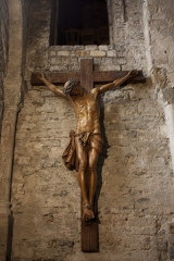 Eglise Saint-Pierre -  This christ in fir wood, 2.30 m high, is the work of an anonymous sculptor of the 18th century. For 230 years, it stood in the centre of the village. In 1963 Jude François, art restorer in Montpellier, assisted by Chales Février carpenter-cabinet maker in Nant, started its restoration. For its preservation, it was moved into the church.