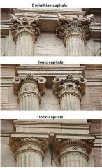 Hôtel d'Assézat et de Clémence Isaure - English: Doric, ionic and corinthians capitals of hôtel d'Assézat, Toulouse (1555-1557)