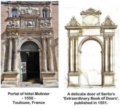 Hôtel Felzins - English: Influence of an engraving by Serlio.